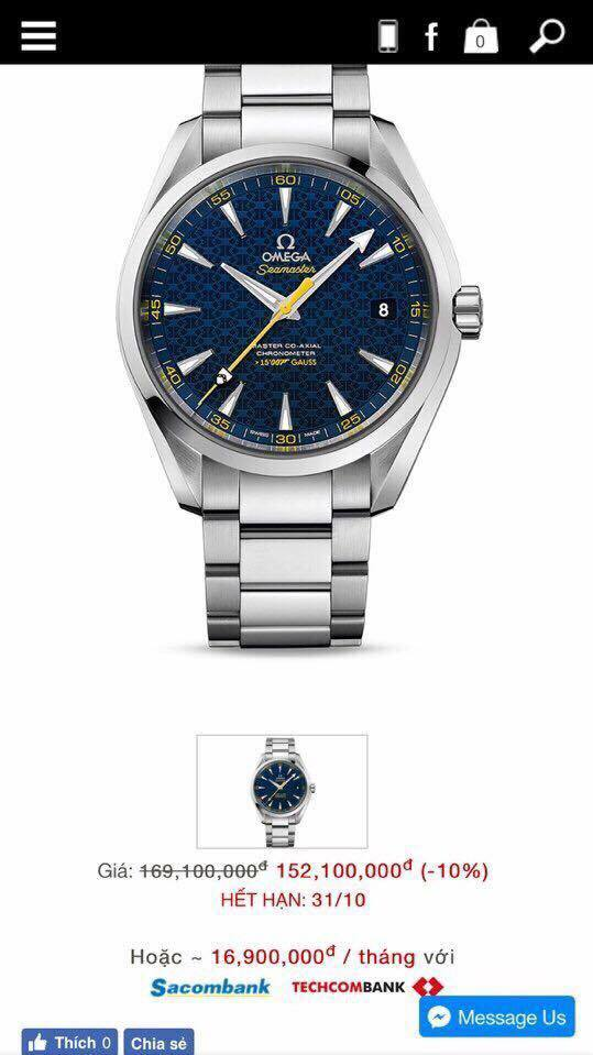 Dong ho SEAMASTER JAMES BOND LIMITED EDITION AQUA TERRA BLUE DIAL STAINLESS STEEL AUTOMATIC WATCH 231.10.42.21.03.004