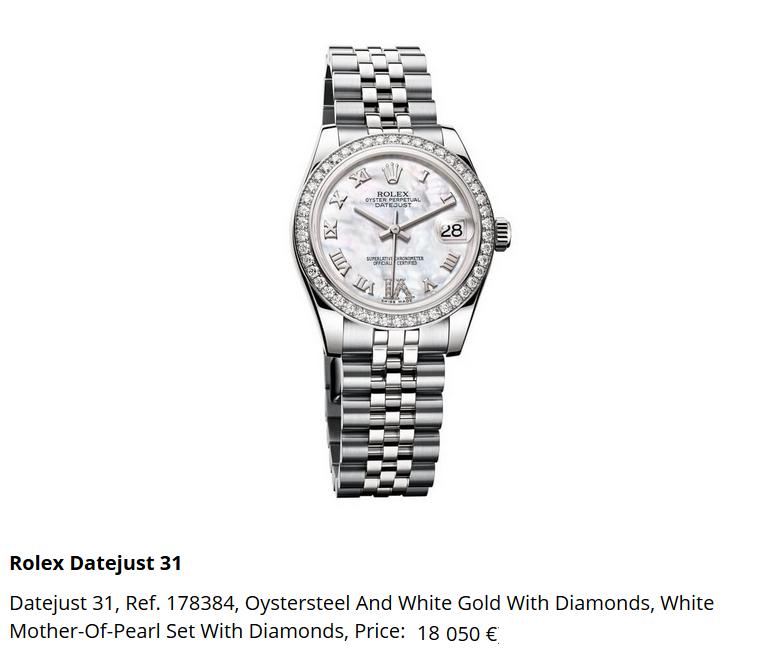 Giá đồng hồ Rolex Datejust 31, Ref. 178384