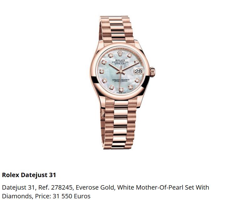 Giá đồng hồ Rolex Datejust 31, Ref. 278245