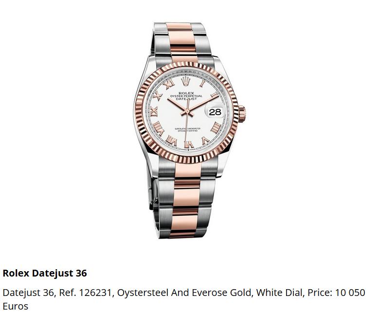 Giá đồng hồ Rolex thụy sĩ Datejust 36, Ref. 126231