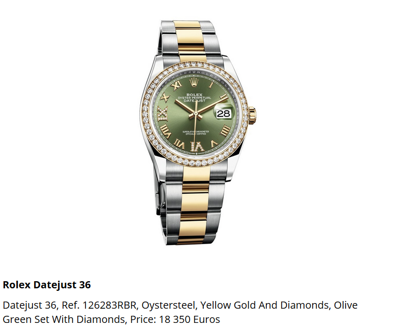 Giá đồng hồ Rolex thụy sĩ Datejust 36, Ref. 126283RBR