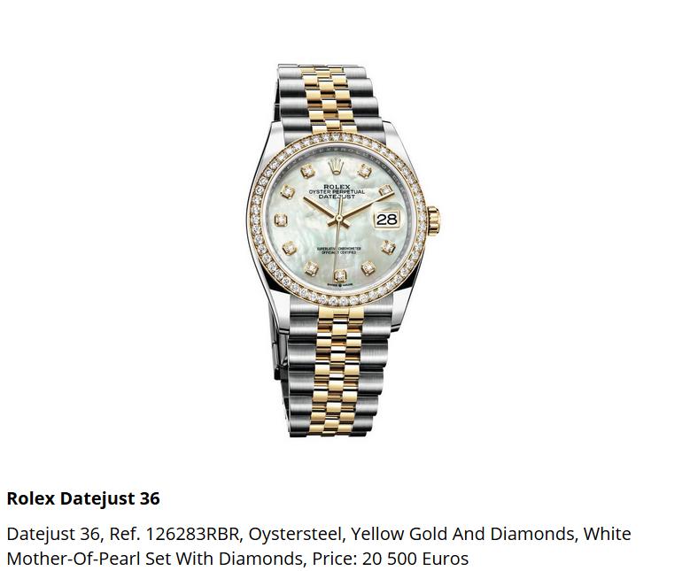 Giá đồng hồ Rolex thụy sĩ Datejust 36 Ref. 126283RBR