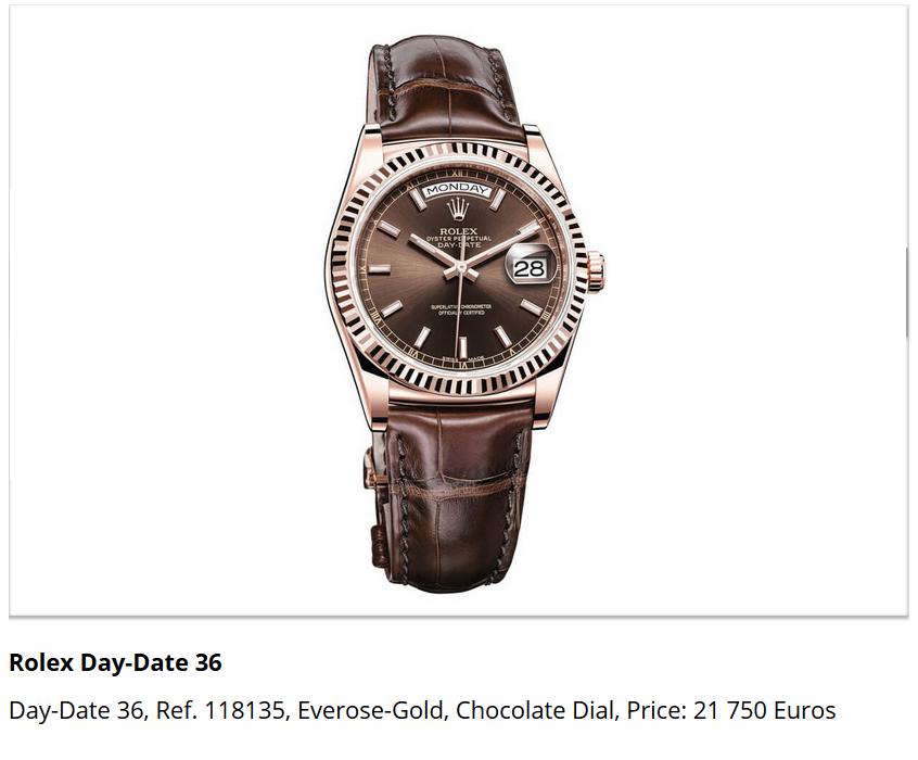Giá đồng hồ Rolex Day-Date 36, Ref. 118135