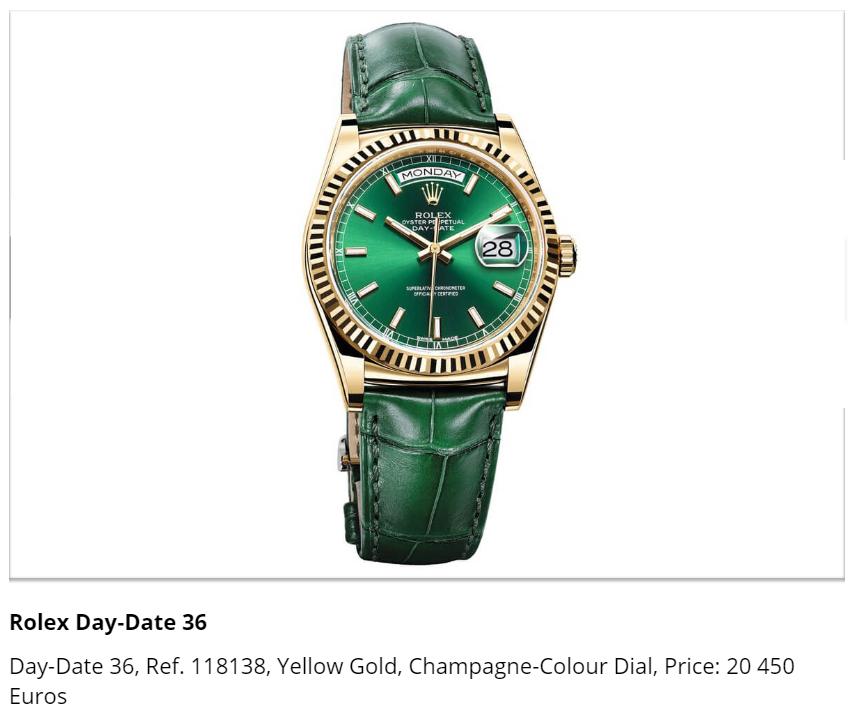 Giá đồng hồ Rolex Day-Date 36, Ref. 118138