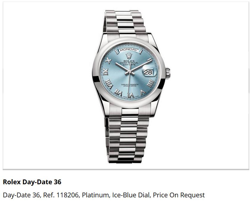 Giá đồng hồ Rolex Day-Date 36, Ref. 118206