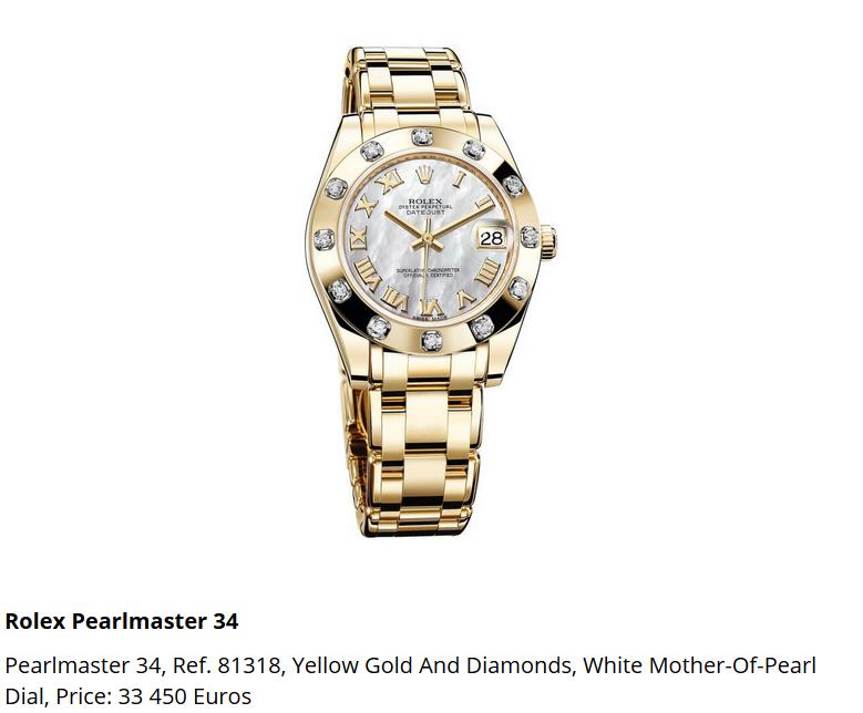 Giá đồng hồ Rolex Pearlmaster 34, Ref. 81318