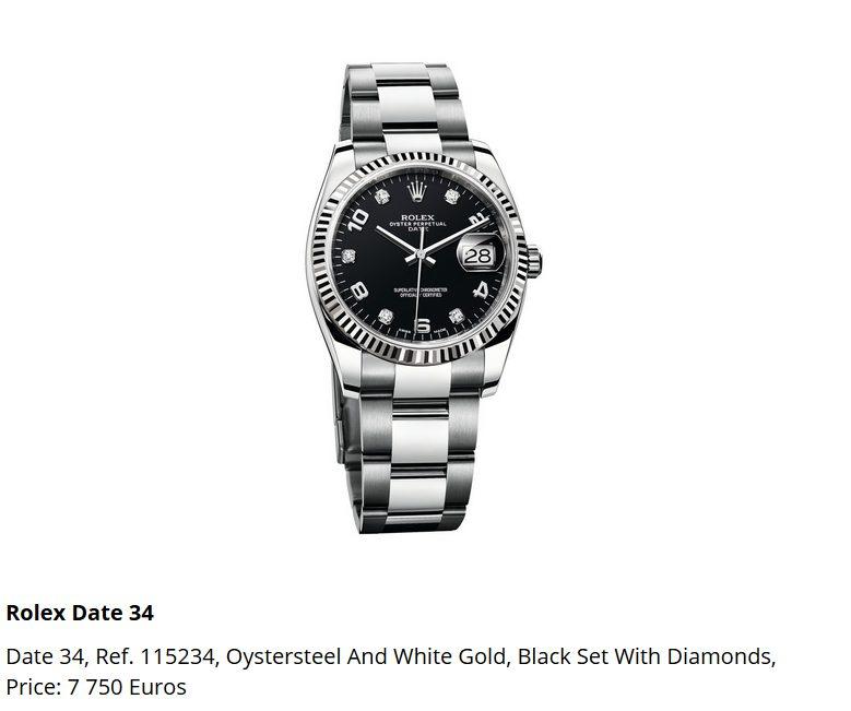 Giá đồng hồ Rolex thụy sĩ Date 34, Ref 115234