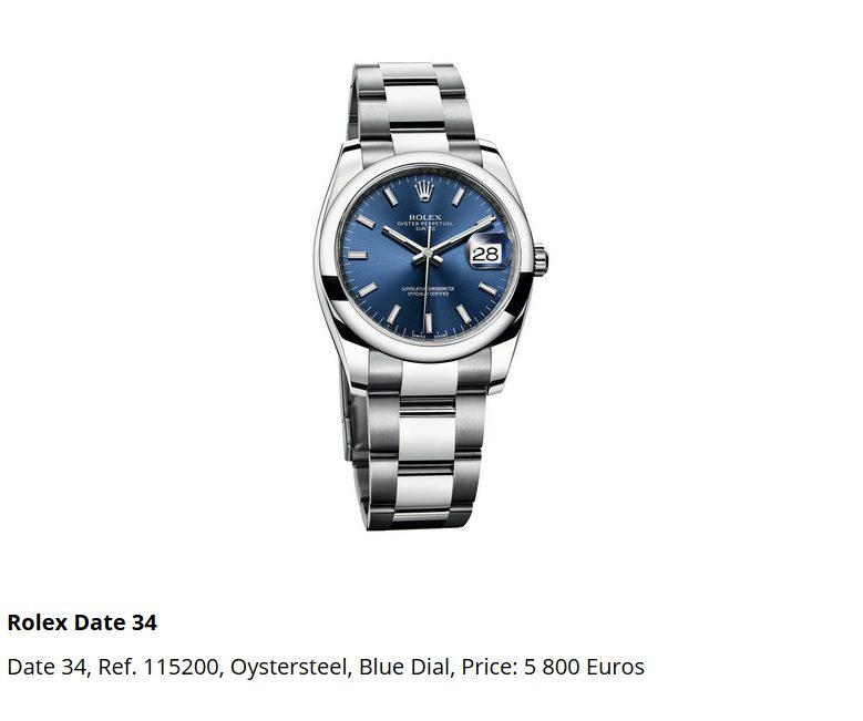 Giá đồng hồ Rolex thụy sĩ Date 34, Ref. 115200