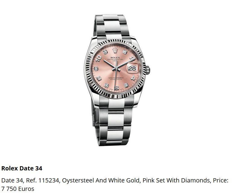 Giá đồng hồ Rolex thụy sĩ Date 34, Ref. 115234