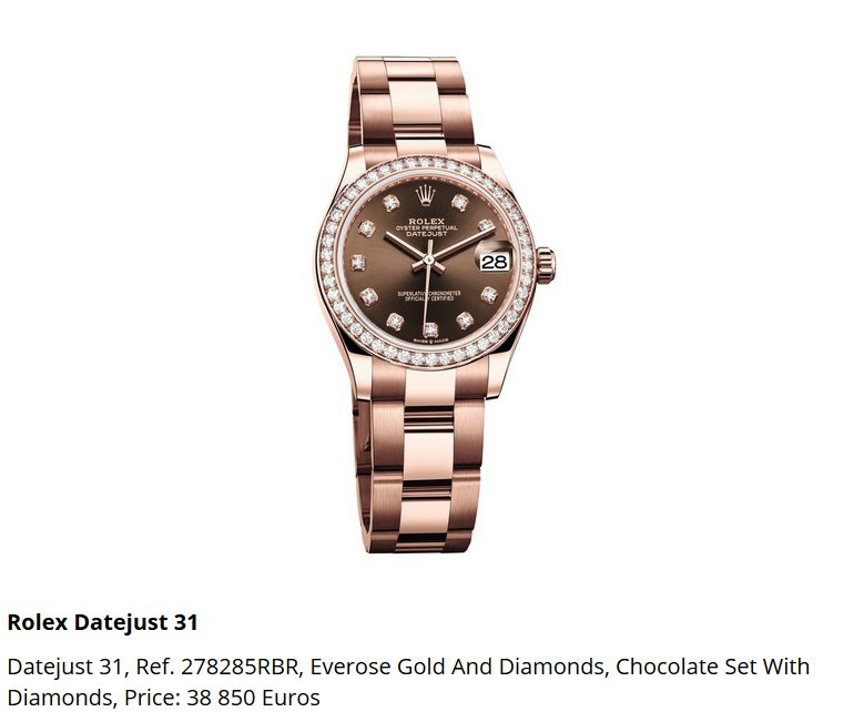 Giá đồng hồ Rolex Datejust 31, Ref. 278285RBR