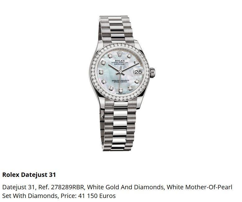 Giá đồng hồ Rolex Datejust 31, Ref. 278289RBR
