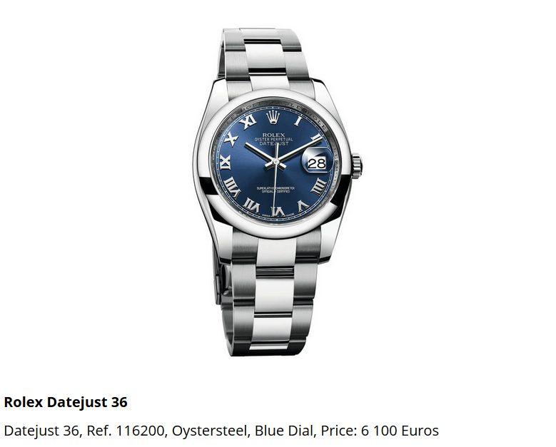 Giá đồng hồ Rolex thụy sĩ Datejust 36, Ref. 116200