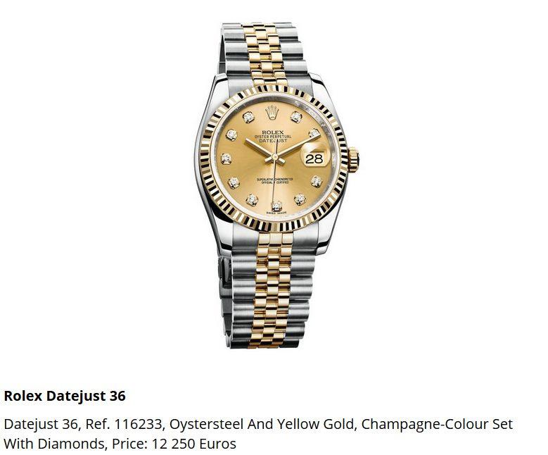 Giá đồng hồ Rolex thụy sĩ Datejust 36, Ref. 116233