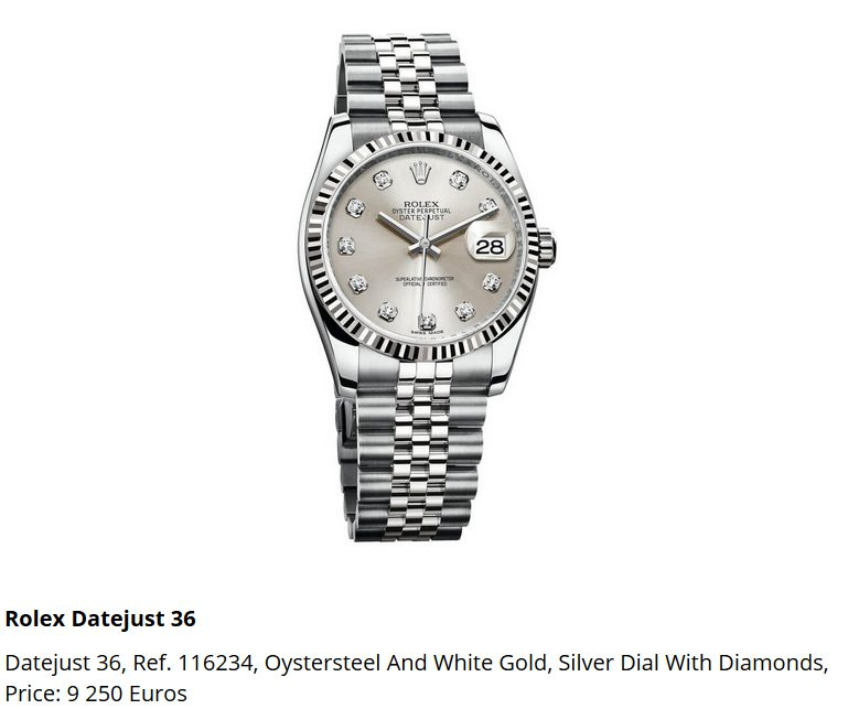 Giá đồng hồ Rolex thụy sĩ Datejust 36, Ref. 116234