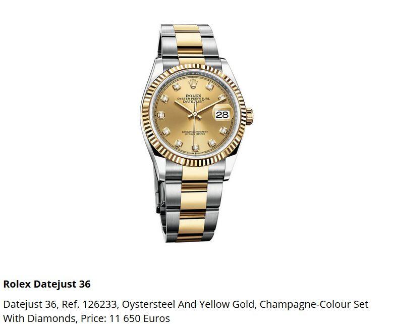 Giá đồng hồ Rolex Datejust 36 Ref. 126233