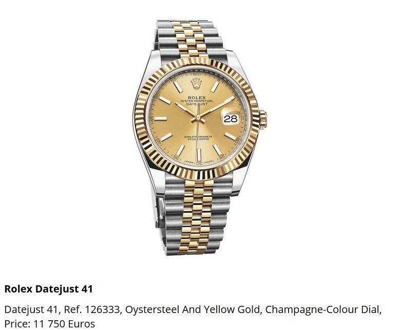 Giá đồng hồ Rolex Datejust 41, Ref. 126333