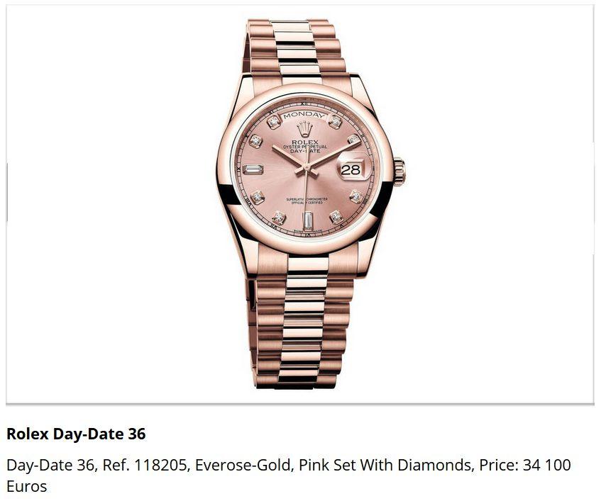 Giá đồng hồ Rolex Day-Date 36, Ref. 118205