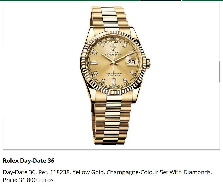 Giá đồng hồ Rolex Day-Date 36, Ref. 118238