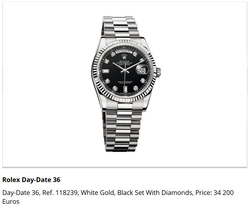 Giá đồng hồ Rolex Day-Date 36, Ref. 118239