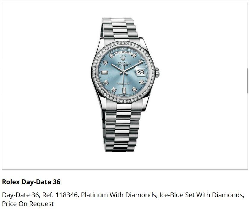 Giá đồng hồ Rolex Day-Date 36, Ref. 118346