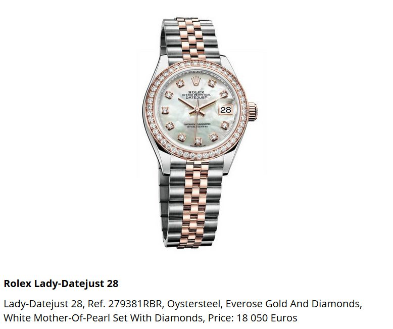 Giá đồng hồ Rolex thụy sĩ Lady-Datejust 28, Ref. 279381RBR,