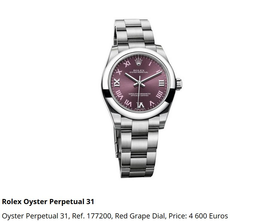 Giá đồng hồ Rolex Oyster Perpetual 31 Ref 177200