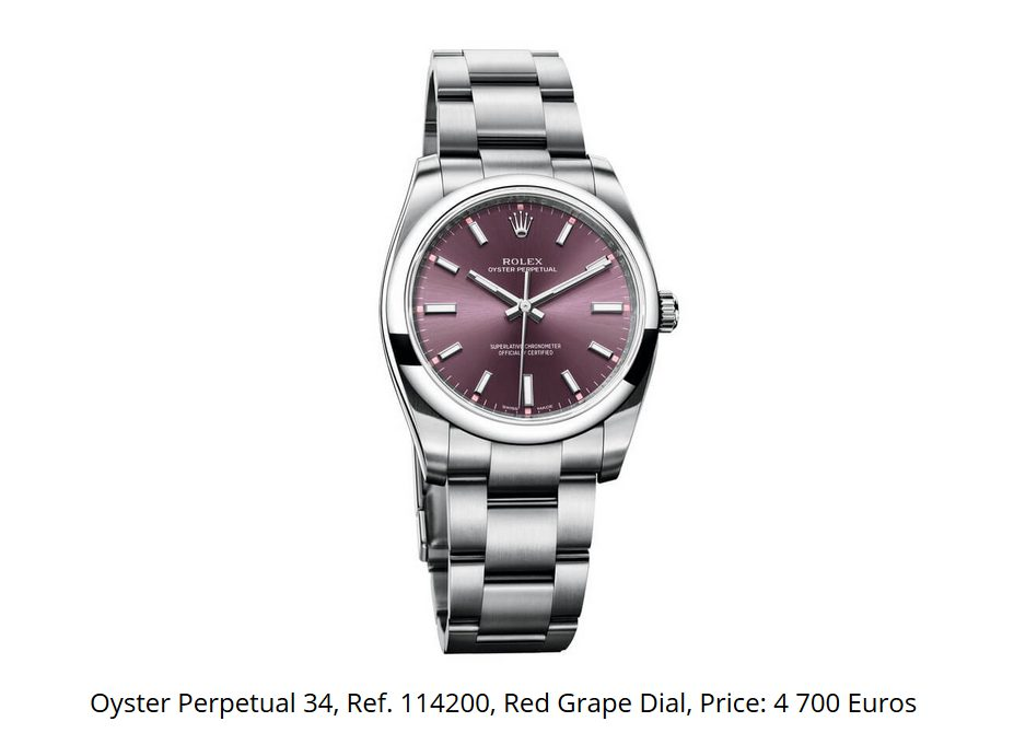 Giá đồng hồ Rolex Oyster Perpetual 34, Ref. 114200
