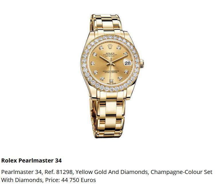 Giá đồng hồ Rolex Pearlmaster 34, Ref. 81298
