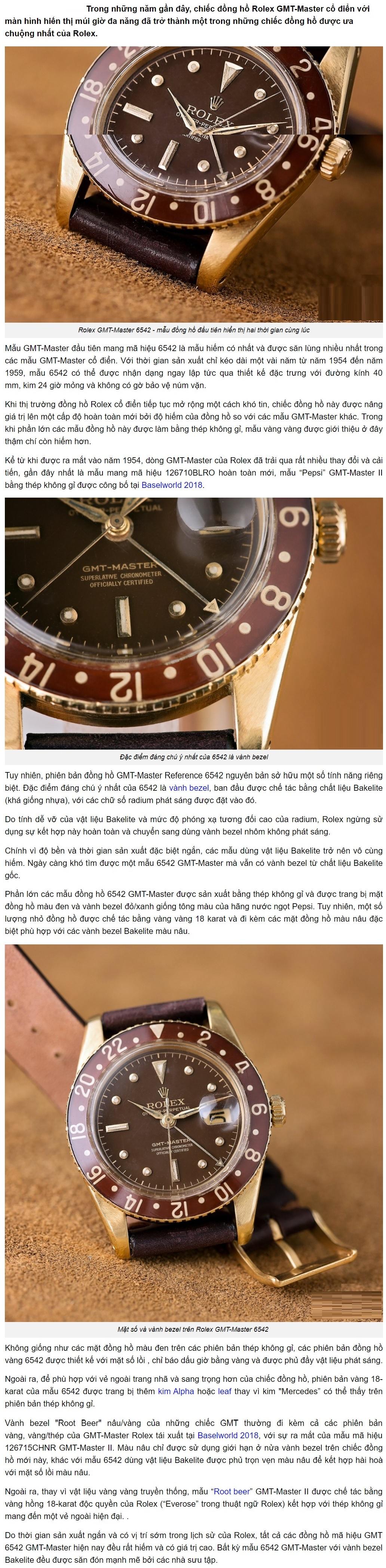 Vẻ đẹp tinh túy của đồng hồ Rolex GMT-Master 6542