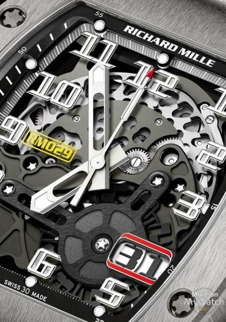 Mặt số Đồng hồ Richard Mille RM 029 White Gold