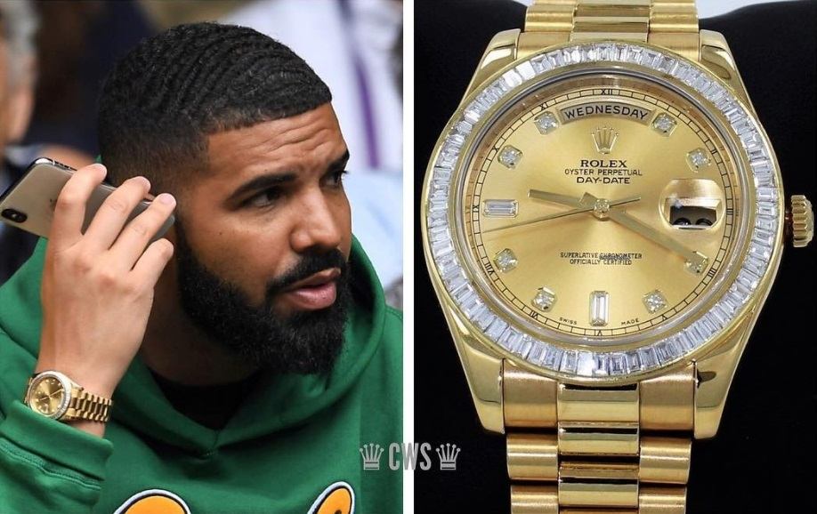 Drake_với_chiếc_đồng_hồ_Rolex_Day-Date_II_18KT_Yellow_Gold