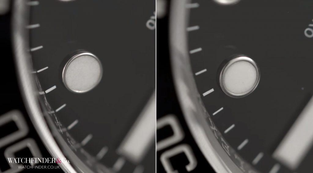 Cóc số trên đồng hồ Rolex giả không tròn như đồng hồ thật