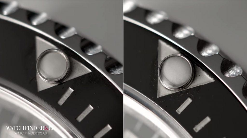 Chấm tròn trên vành Bezel của đồng hồ Rolex giả trắng hơn phát quang cũng kém hơn