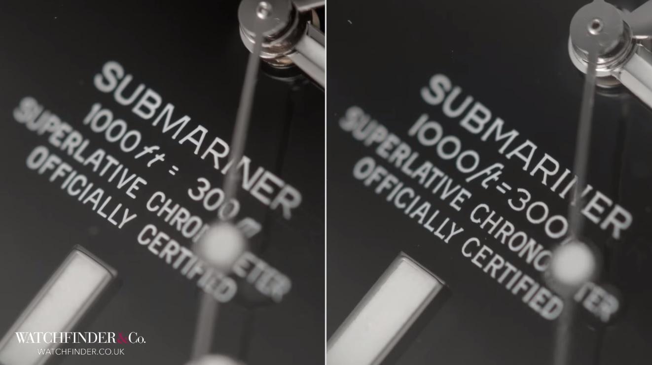 Chữ m trong 300m Rolex thật sẽ xa hơn một chút so với đồng hồ Rolex Fake