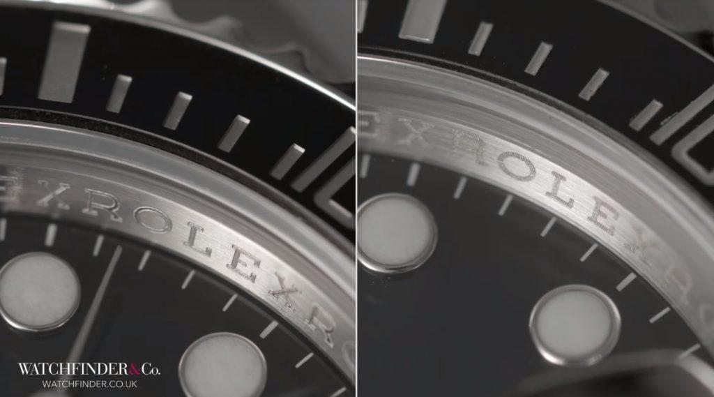 Inner Bezel trên đồng hồ Rolex Fake cong hơn và chữ cái mờ hơn