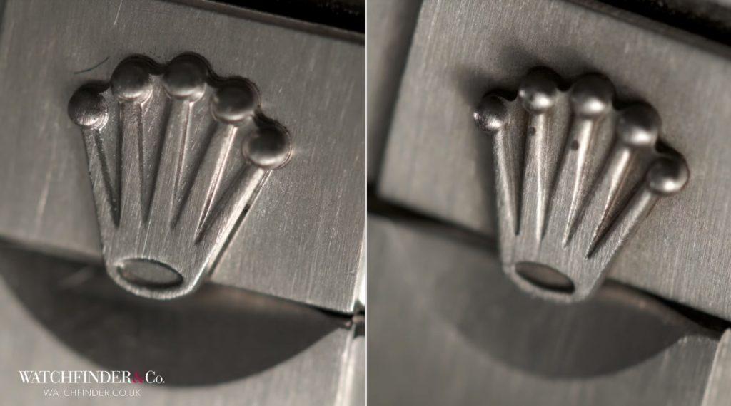 Phần vương miện ở khóa dây chỉ khác nhau chút xíu