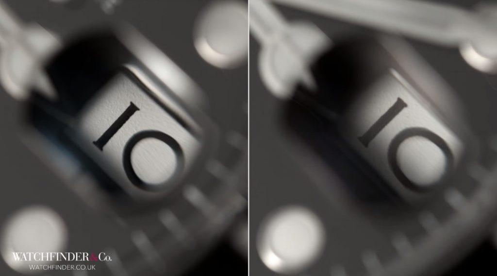 Số trên lịch ngày không đặt ở giữa với chất lượng in kém hơn đồng hồ thật