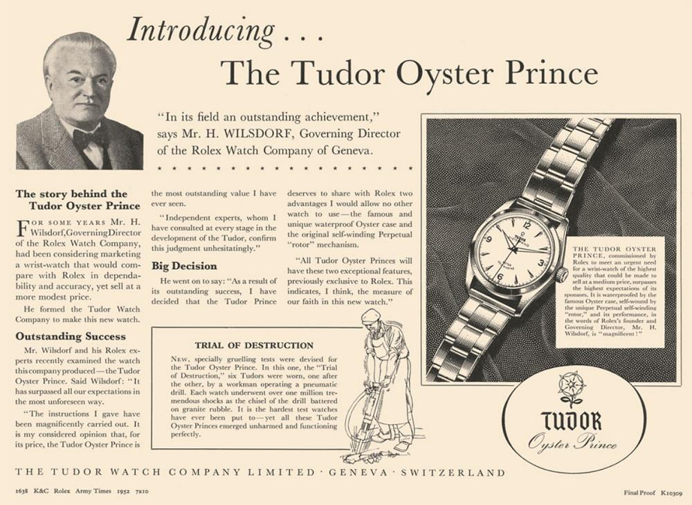 Một trong những ấn phẩm quảng cáo Tudor đầu tiên với những lời tâm huyết từ chính ngài Hans Wilsdorf