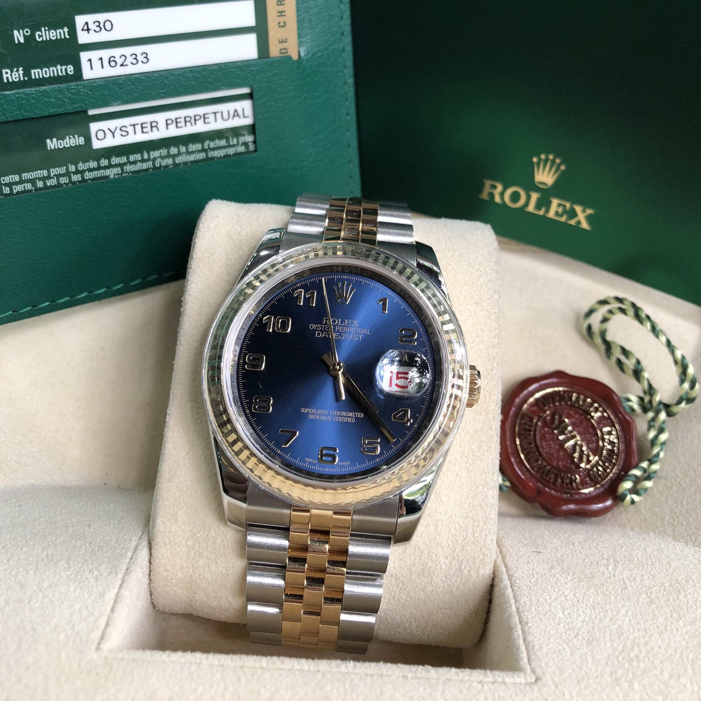 Rolex Datejust 36 Ref. 116233 mặt xanh Navy Demi 18k Fullbox
