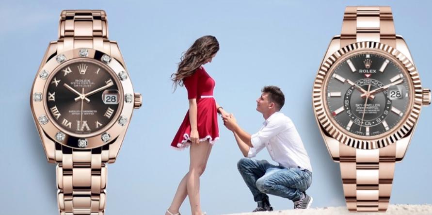 Đồng hồ đôi Rolex Rose Gold
