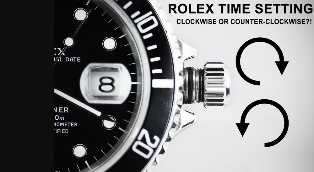 Hướng vương miện để cài đặt thời gian trên đồng hồ Rolex