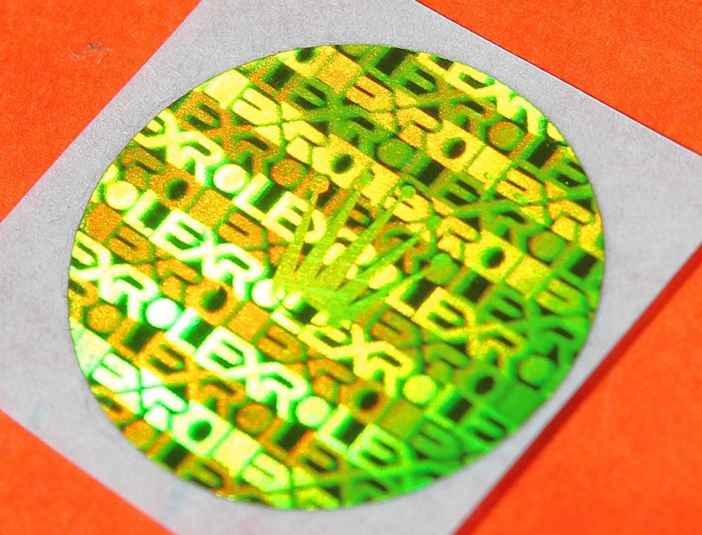Nhãn dán Rolex hologramme sticker 3D màu xanh lá cây