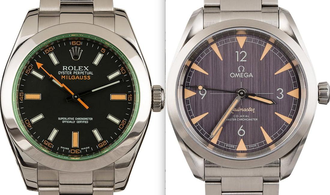 Đánh giá đồng hồ chống từ Rolex Milgauss vs Omega Railmaster