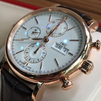 IWC Portofino Chronograph IW392010 mặt trắng Rose Gold 18k