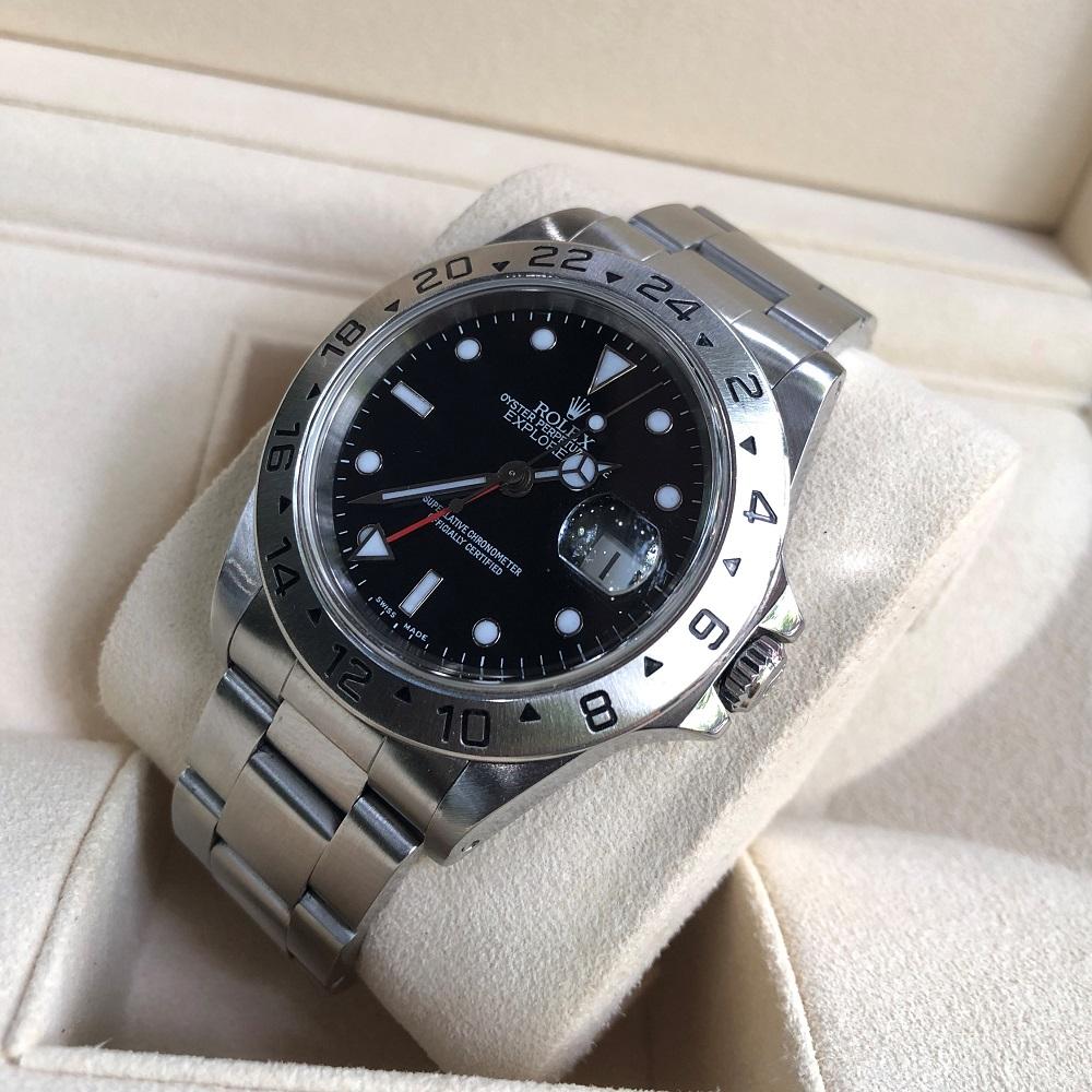 Rolex Explorer 16750 GMT mặt đen Oystersteel Size 40mm