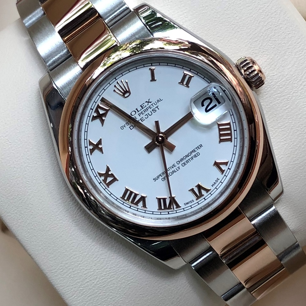 Rolex Lady-Datejust 178241 mặt trắng Everose Gold & Oystersteel