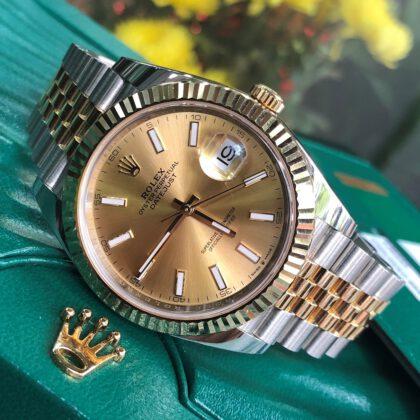 Rolex Datejust 126333 mặt vàng tia demi vàng 18k size 41mm