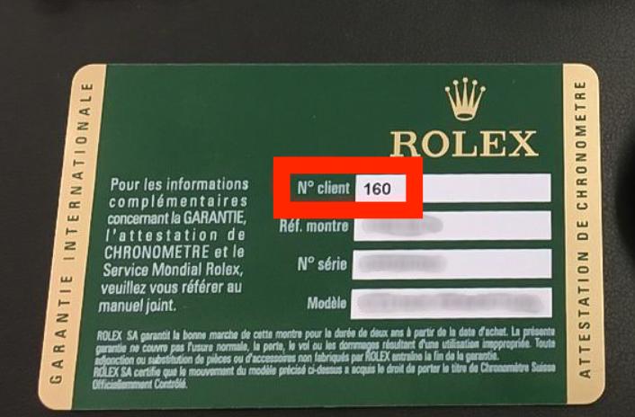 Mã quốc gia Rolex ở góc bên phải thẻ bảo hành mới