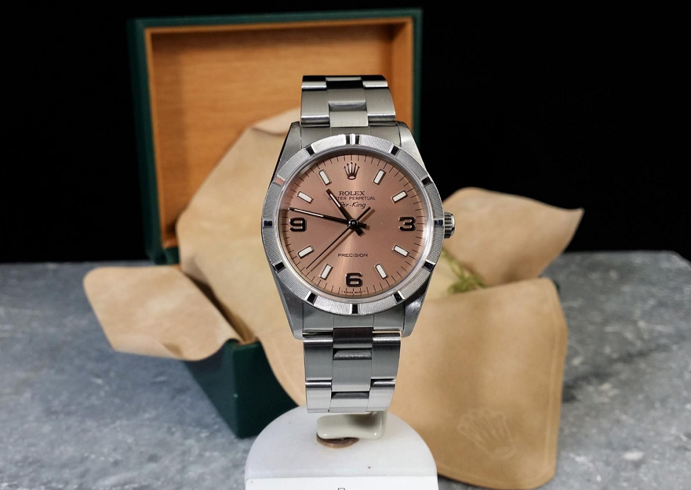 Đồng hồ Rolex Air-king 14010 mặt số cá hồi