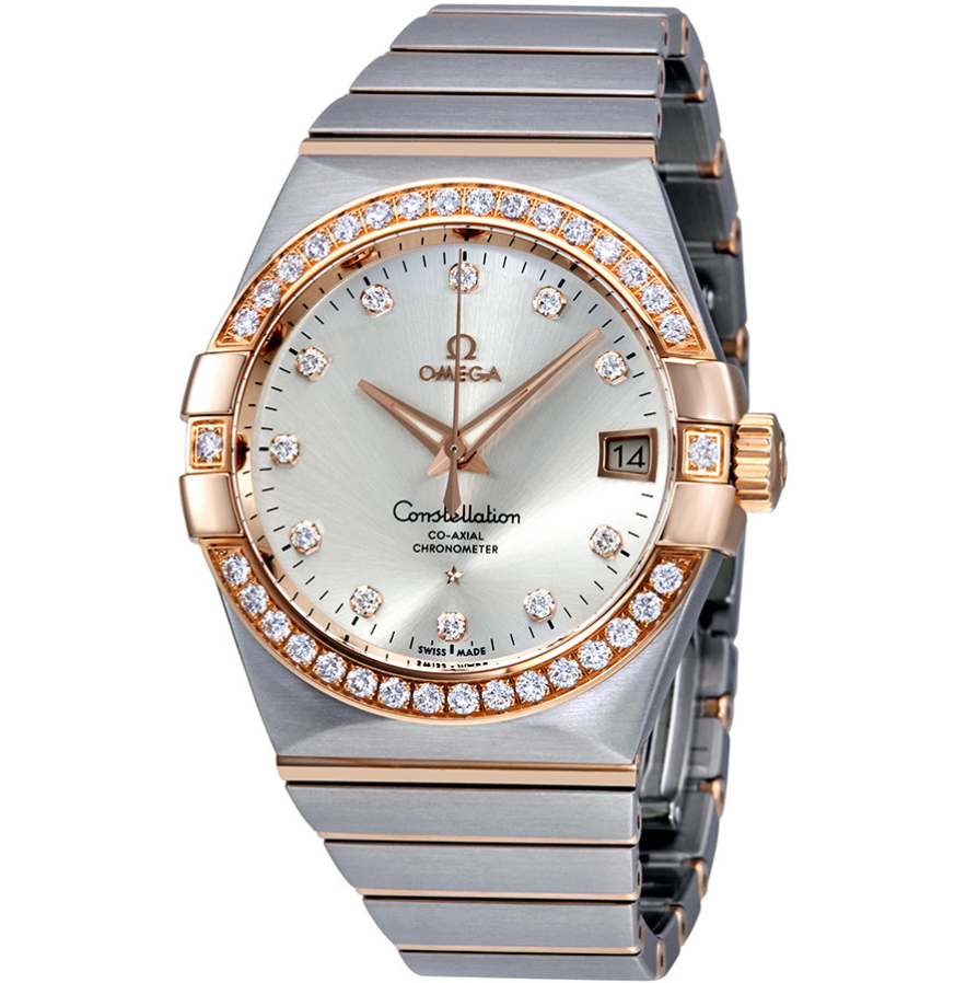 omega constellation silver dial diamond 123.25.38.21.52